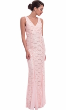 Lace V-Neck mother of the bride long dress