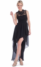 Lace Yoke Sheer Chiffon High-Low Dress