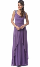 Long Bridesmaid Dress Beaded Shoulders