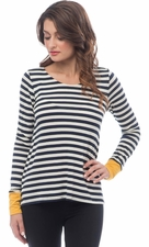 Long Sleeve Striped Top With Color Cuff