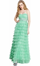 Mesh Ruffle Long Prom Dress Gem Waistline