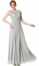 Metallic Lace Empire Mother Of The Bride Dress