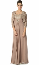 Metallic Lace Empire Mother Of The Bride Dress with Bolero