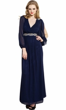 Open-Sleeve Mother of the Bride Long Dress