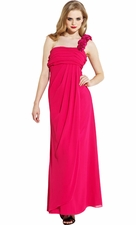 One-Shoulder Satin Rosettes Chiffon Bridesmaid Long Dress