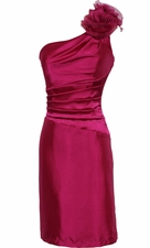One Shoulder Satin Sheath Formal Dress with Florettes Prom Gown Junior Plus Size