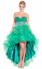Organza High-Low Ruffled Prom Pageant Dress