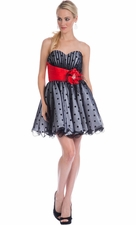Polkadot Mesh Party Prom Dress