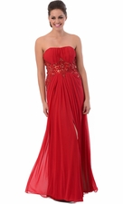 Red Carpet Long Prom Bridesmaid Dress Beaded Sheer Waist