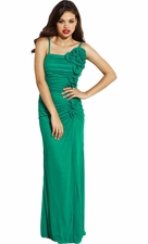 Ruched Chiffon Long Gown Ruffle Prom Dress Bridesmaid Gown