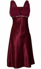 Satin Chiffon Prom Dress Bridesmaid Knee-Length