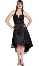 Satin Halter Dress Tulle Mini Train Prom Bridesmaid