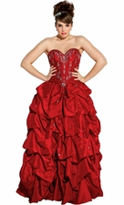 Satin Pageant Beaded Jeweled Ball Gown Pull-Ups