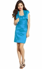 Scoop Taffeta Knee Length Prom Bridesmaid Shift Dress W/ Bolero