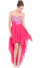 High-Low Chiffon Prom Dress Hankie Hem