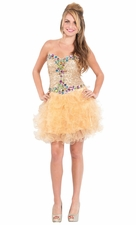 Jeweled Strapless Short Prom Dress Ruffle Skirt