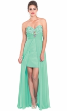 Sequin Bust Prom Dress w/ Long Chiffon Overlay, Slit Front