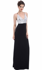Sequin Halter Maxi Prom Dress