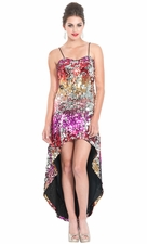 Sequin High-Low Red Carpet Awards Prom Dress
