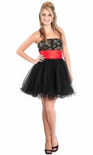 Sequin Dot Bodice Tonal Mini Prom Dress