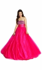 Sequined Empire Net Ball Gown Prom Dress