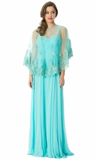 Sheer Lace Capelet Dress Mother Of The Bride