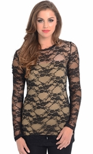 Sheer Lace Long Sleeve Top