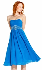 Strapless Chiffon Prom Bridesmaid Dress Knee-Length