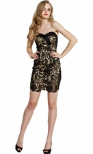 Strapless Lace Panel Mini Prom Dress LBD