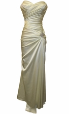 Strapless Long Satin Bridesmaid Dress Prom Crystal Pin
