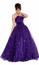 Strapless Pageant Sequin Mesh Ball Gown Prom Dress