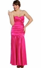 Strapless Satin Prom Bridesmaid Dress w/ Brooch