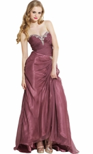 Strapless Sheer Organza Formal Prom Dress