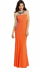 Strapless Gem Sunburst Red Carpet Prom Dress