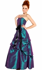 Strapless Taffeta Bridesmaid Prom Long Dress