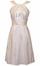 Taffeta Halter Bridesmaid Dress Prom Knee-Length