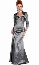 Strapless Mother of the Bride Dress, Crystal Pin & Bolero