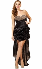 Vintage Pin-Up Beaded Leopard Satin High-Low Prom Dress