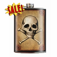8oz Skull & Bones Stainless Steel Flask