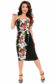 Black Ella Strapless Tiki Dress by Steady Clothing