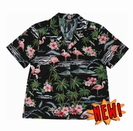 Ladies Paradise Flamingo Hawaiian Shirt, Black NEW!!