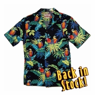Neon Parrots Authentic Tiki Hawaiian Aloha Shirt - Black
