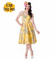 NEW! Alika Tiki 50's Dress, Yellow by: Hell Bunny