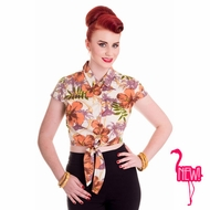 NEW! Kaila Tiki Cropped Tie Top by Hell Bunny