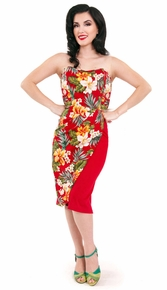 Red Ella Strapless Tiki Dress by Steady Clothing