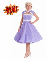 Lavender Melanie Polka Dot Dress by Hell Bunny