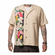 Black & Beige Hibiscus Tiki Panel Lounge Shirt by Steady Clothing