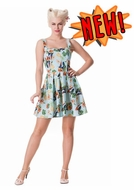 Tiki Becky Mini Dress, Blue by Hell Bunny