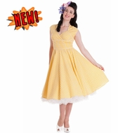 Yellow Lazy River Gingham Dress, by Hell Bunny