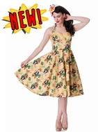 Yellow Sassy Tropical Tiki Dress By Hell Bunny